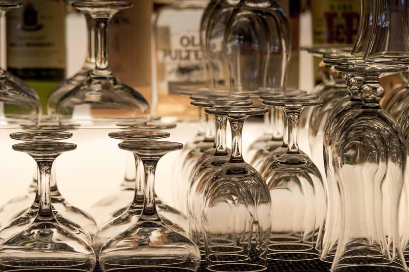 Upside down image of wine glass