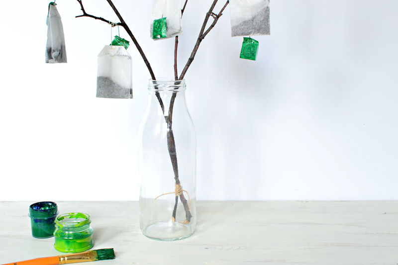Close-up of bottle with teabags hanging on plant stems against white background