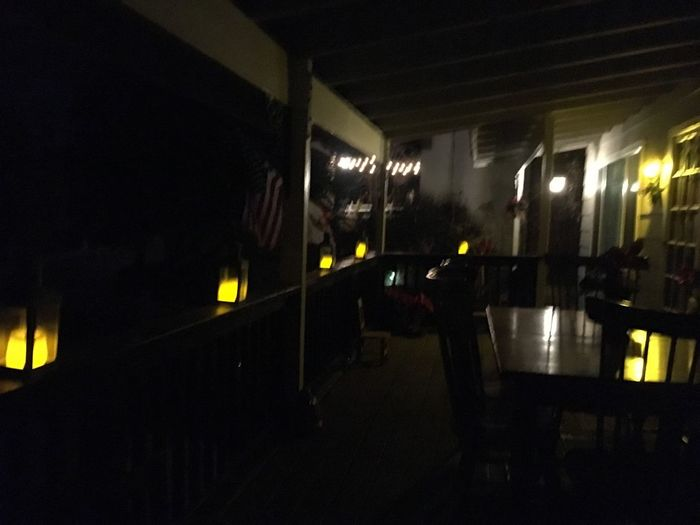 Porch Lights Lanterns Yellow Light Illuminated Night Dark No People House Deck Party Table Chairs Empty Closed Late After Hours Outdoor Dining  Restaurant Closed