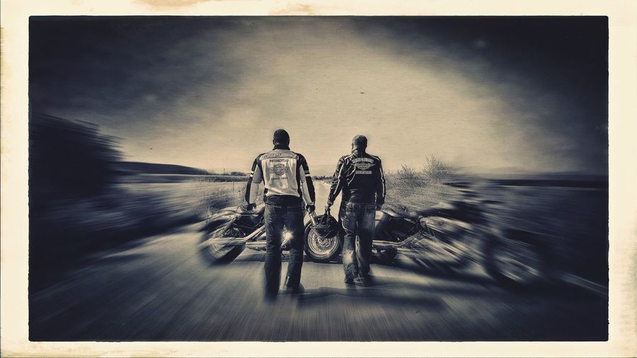 Riding On The Move Men Road Blurred Motion Street Lifestyles Motorcycle Self Portrait Tripod Country Road Bike Harleydavidson Capture The Moment Austria Togetherness Friends Countryside Mystical Atmosphere Monochrome Photography