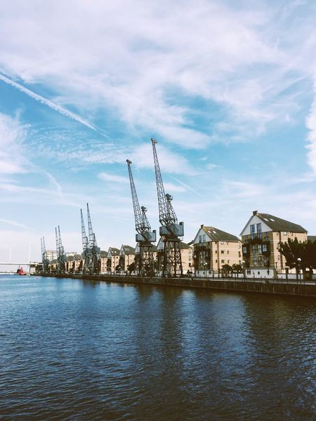 Docklands, London — 2016 Architecture Blue Buildings Buildings & Sky City Cloud Cloud - Sky Clouds And Sky Day Docklands Greenwich Harbor London No People Outdoors River Riverbank Riverside Sea Sky Tranquil Scene Tranquility View Water Waterfront
