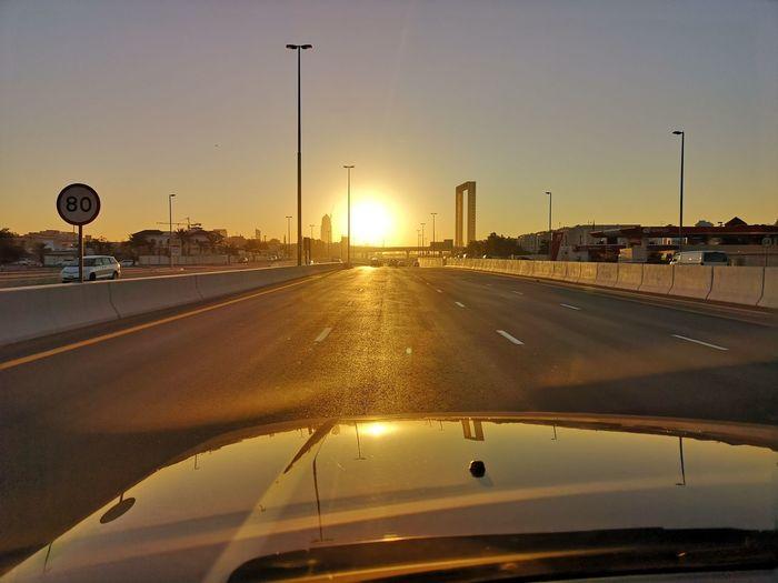 City Politics And Government Sunset Illuminated Car Road Sky