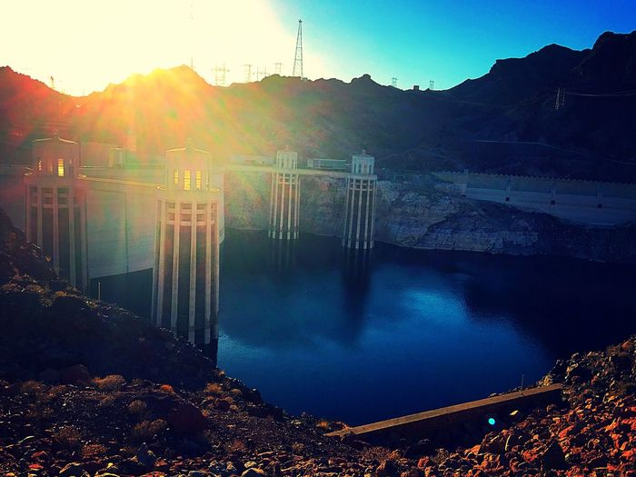 Dam Hydroelectric Power Mountain Water Fuel And Power Generation Renewable Energy Outdoors Lake Nature Alternative Energy No People Sunlight Beauty In Nature Tranquil Scene Day Built Structure Power Station Architecture Mountain Range Scenics Hoover Dam Nevada EyeEmNewHere EyeEmNewHere