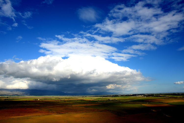 Beauty In Nature Blue Cloud - Sky Day Environment Field Grass Horizon Horizon Over Land Land Landscape Nature No People Non-urban Scene Outdoors Prairie Rolling Landscape Rural Scene Scenics - Nature Sky Tranquil Scene Tranquility