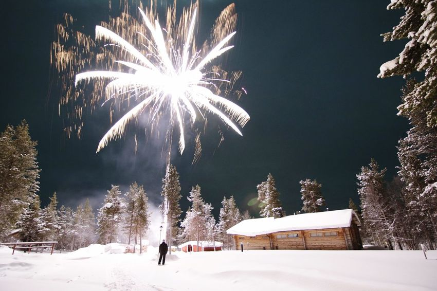 Finland Lapland Saariselkå Winter Snow Night One Person Outdoors Nature New Year Fireworks Firework Smoke Sauna