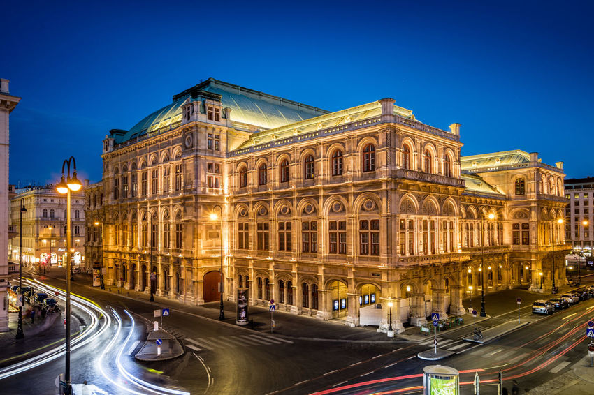Blue Hour Vienna Architecture Architectureporn Blue Building Exterior Built Structure City Clear Sky Illuminated Light Trail Long Exposure Motion Night Operahouse Road Sky Staatsoper Wien