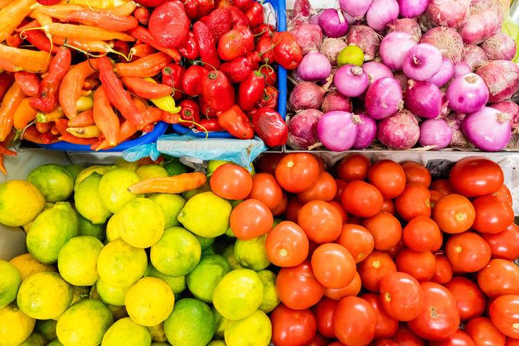 Directly Above Shot Of Vegetables For Sale At Market
