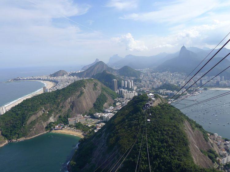 View from sugar loaf in Rio de Janeiro Brazil Cidade Maravilhosa Copacabana Cristo Redentor-Río De Janeiro City Cloud - Sky Mountain Transportation