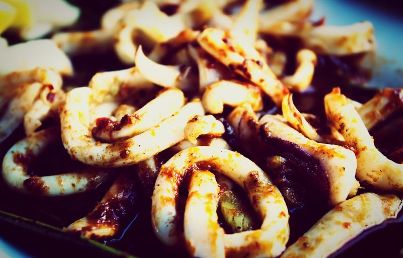 Delicious chilli squid in Singapore Food And Drink Food Healthy Eating Seafood Fried No People Ready-to-eat Freshness Close-up Indoors  Day Singapore Chilli Squid