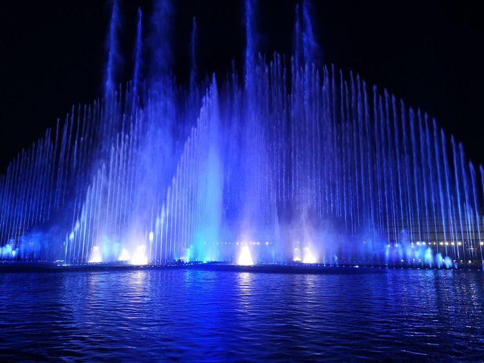 Dancing water 2 Fountain Fountain Show Fountain Fun Fountain, Water, Spurt, Lights, Round, Circle, Water Water Fountain Water Illuminated Astronomy Galaxy Blue Sky Light Painting Entertainment