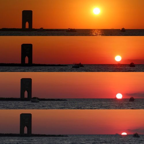 Sunset Water Orange Color Sea Beauty In Nature Scenics Reflection Nature Horizon Over Water Tranquil Scene Tranquility Sky Idyllic Silhouette No People Outdoors Sun Livorno Torre Della Meloria Meloria Leghorn Tuscany Sailing Collage Sunset Silhouettes