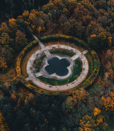High angle view of trees in park during autumn