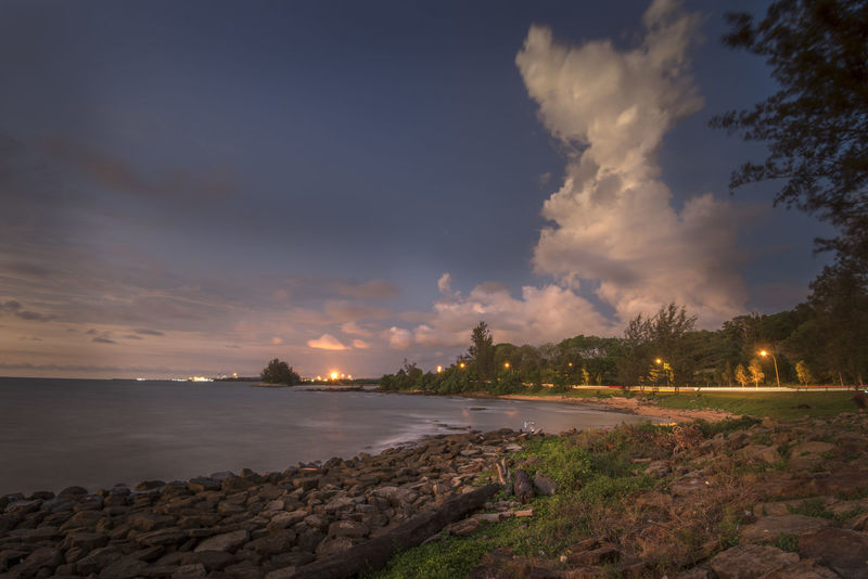 Bintulu Blue Hour Borneo Island Clouds And Sky Sarawakmalaysia Scenics Tg Batu Tranquility Tree