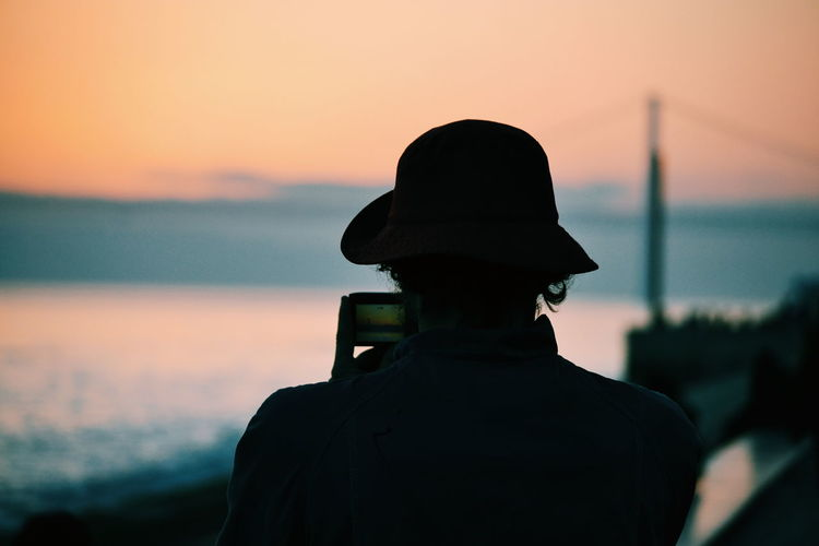 Silhouette of tourist in lisbon