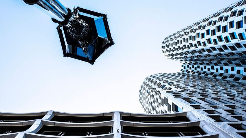 Berlin Sky Low Angle View Clear Sky Architecture Nature Building Exterior Built Structure Day No People Hanging Lighting Equipment Building Decoration Outdoors Seat City Tall - High Blue Metal Light
