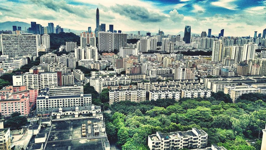 Aerial View Landscape Shangmeilin Shenzhen China Modern Architecture Architecture Buildings Blue Sky Clouds