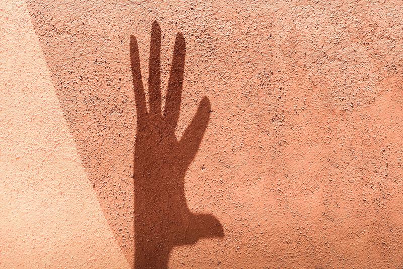 Shadow Of Hand On Peach Wall