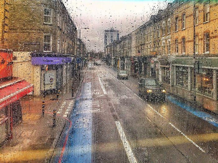 London Lifestyle Rain Transportation Street Doubledeckerbus Doubledecker London Window Rainy Days Road Battersea Lost In The Landscape