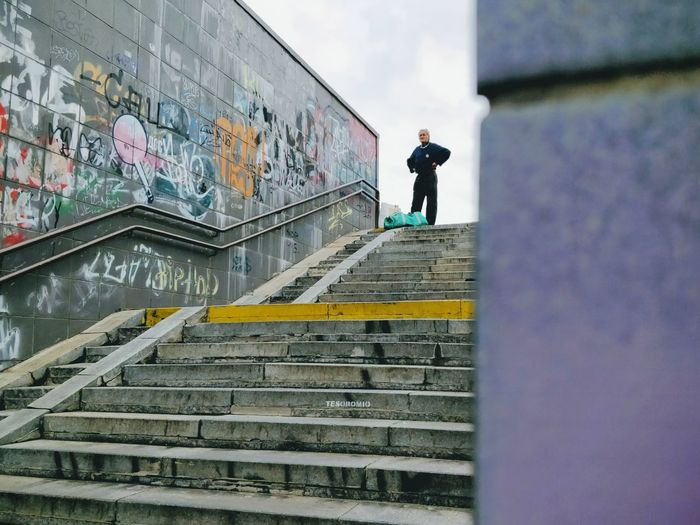 One Man Only Adult One Person People Standing Artist Outdoors Senior Adult SneakPeek Stairways Stairs Unterführung Kiev Ukraine Architecture City Copy Space Waiting Perspectives On Nature