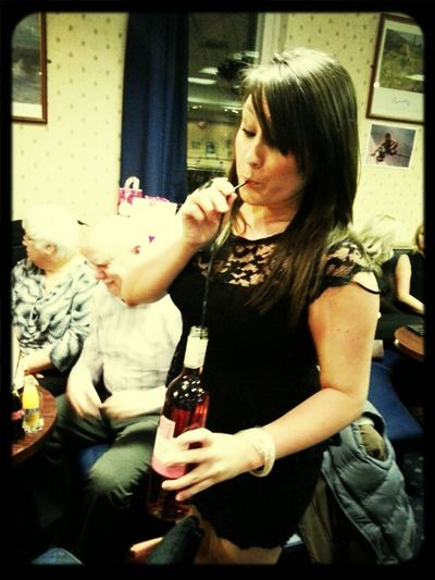 Drinking Wine From The Bottle With My Dads Home Made Straw!! Ha!!