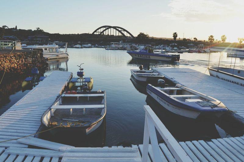 Relaxing Boats⛵️ Enjoying Life Bridge - Man Made Structure Port Alfred Sunset