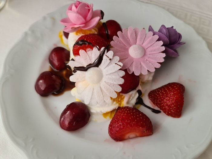 High angle view of strawberries in plate