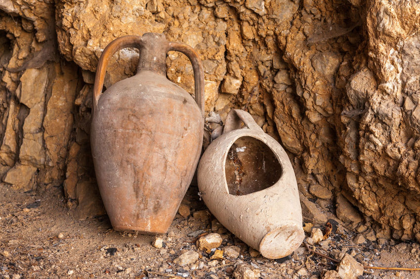 Old amphoras Ancient Antique Abandoned Amphoras Cave Country Life Greece Oil Old