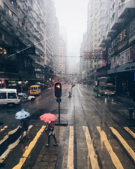 Wet city street during rainy season