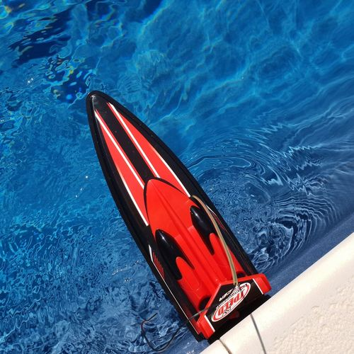 Backyardphotography Myhome Summetime Poolside Water Nautical Vessel Red Blue High Angle View Close-up Moored Aerial View Longtail Boat Boat Water Vehicle