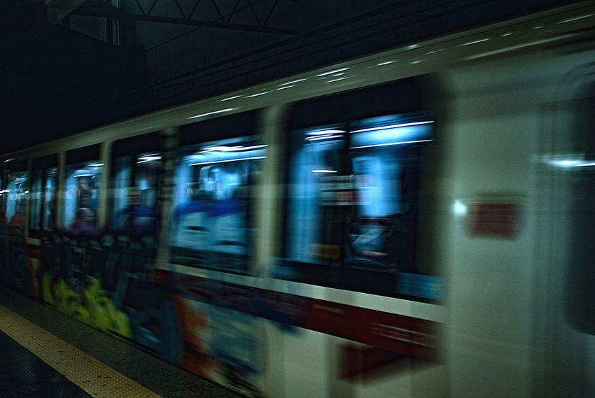 Metro Metro Station Underground Trein in Movement Rome Italy Travel Metropolitana Architecture Panning Panningphotography Panning Shot