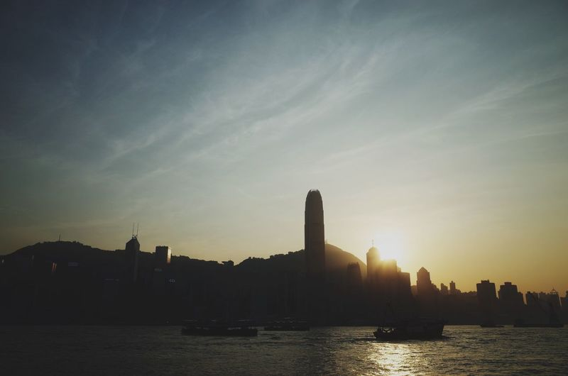Sunset over the Hong Kong city skyline. Open Edit HongKong Cityscapes Sunset