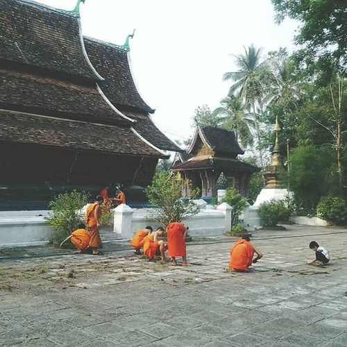 Monks cleaning the Temple compound in Luangprabang Laos . Travel Everydayasia Instatravel Travelgram Travelingourplanet ExploreEverything Feel The Journey