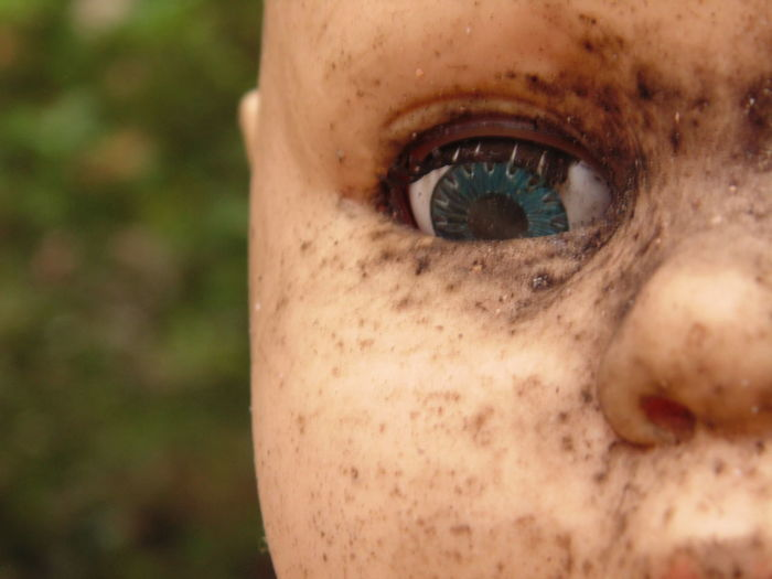 Broken Close-up Doll Eyeball Focus On Foreground Old Portrait Scary