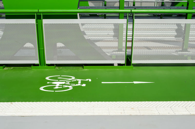 Green line Bicycle Path City Life Close-up Day Direction Directional Sign Eye4photography  EyeEm Gallery Green Green Color Information Sign Lifestyles No People Outdoors Path Road Sign Sign Simplicity TheWeekOnEyeEM Urban Lifestyle Urban Photography Urban Signs My Commute