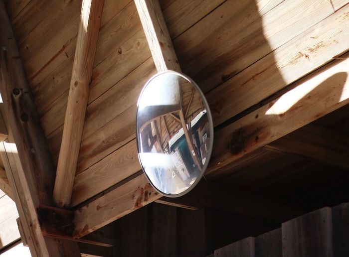 Reflection Mirror Canon Wood - Material Ceiling Indoors  Hanging No People Built Structure Low Angle View Close-up Architecture Day