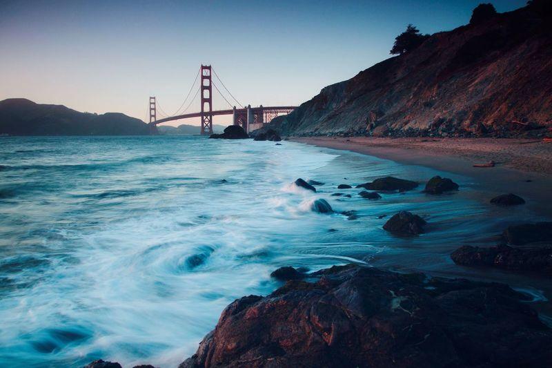 Blue Hour Beach San Francisco SF Golden Gate Bridge Sea Sky Nature Outdoors Water