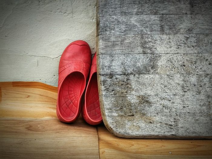 Shoes on wallpaper