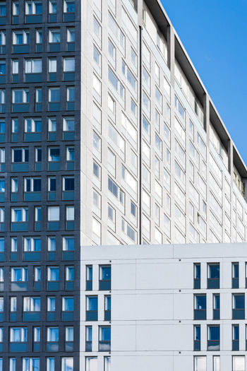 Architecture. Angle Angles Architecture Big Small Blue Building Exterior Built Structure City Citylife Concrete Contrast Day EyeEm Best Shots Façade Minimalism Minimalist Architecture Modern No People Outdoors Popular Photos Sky The City Light Window Windows Work