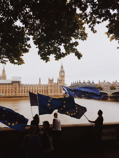 Bye bye Ben Big Ben Brexit Brexit Protest Elizabeth Tower River Thames Flags European Union Europarliament Wawing Flag Peoplephotography London