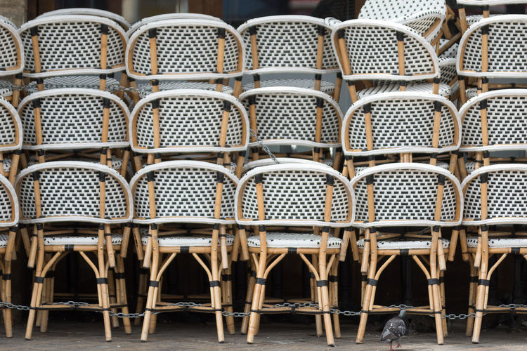 Full frame shot of chairs in building