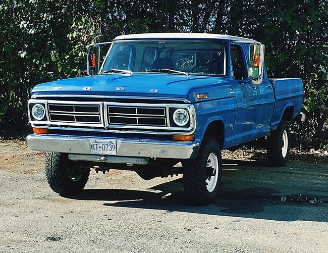 Fall Classic Car Pickup Truck Ford F250 Mode Of Transportation Transportation Land Vehicle Motor Vehicle Car Sunlight City Retro Styled Blue Headlight
