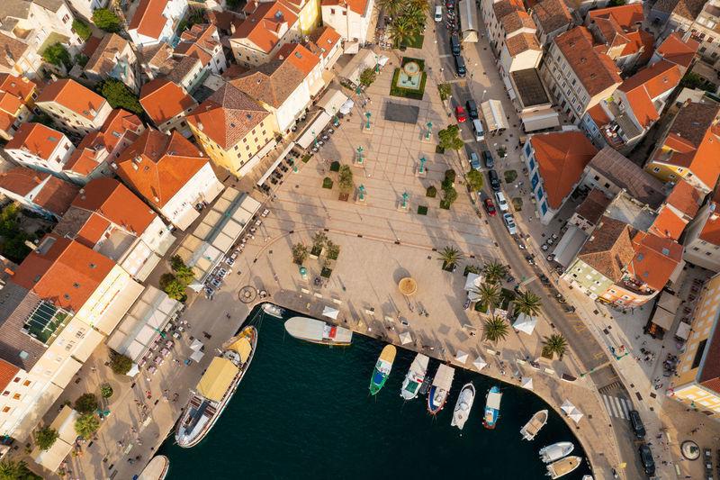 Aerial view of the beach near mali losinj on losinj island, the adriatic sea in croatia