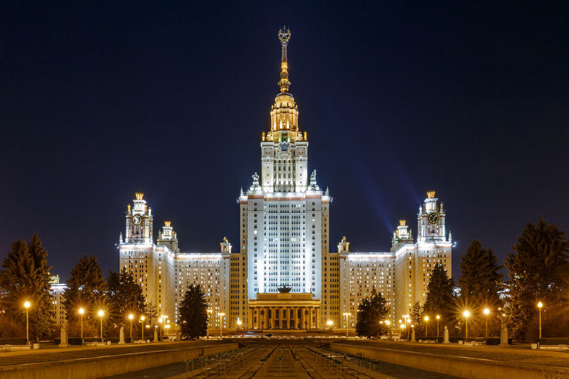 The Stalin Style building of the Moscow State University at night Illuminated Building Exterior Night Architecture Built Structure Travel Destinations No People Tower City Nature Building Travel Tourism Tall - High History Outdoors Skyscraper Moscow University Stalinist Architecture Stalin Russia Nightscape Landmark