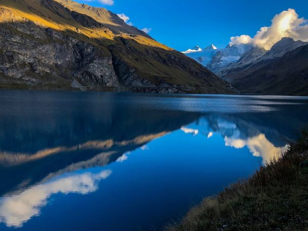 Swiss Mountains Swiss Alps Valais Valdanniviers Grimentz Moiry Water Beauty In Nature Tranquil Scene Mountain Reflection Tranquility Lake Blue Idyllic Outdoors Autumn Mood