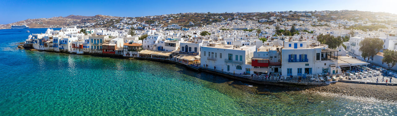 Panoramic shot of townscape by sea