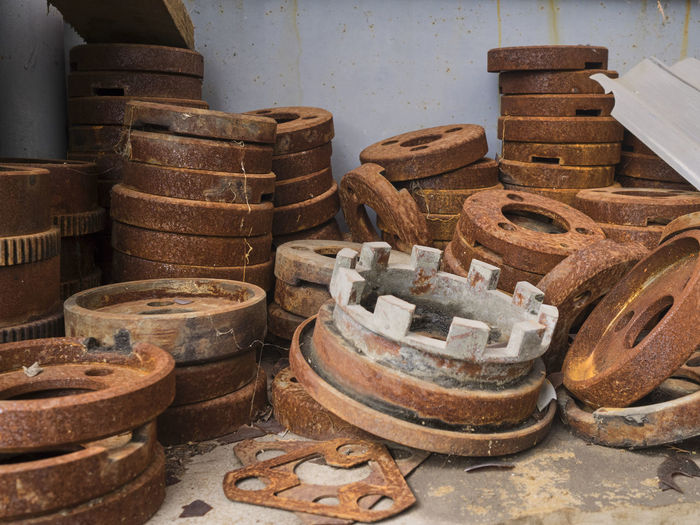 Stack of old metal in industry