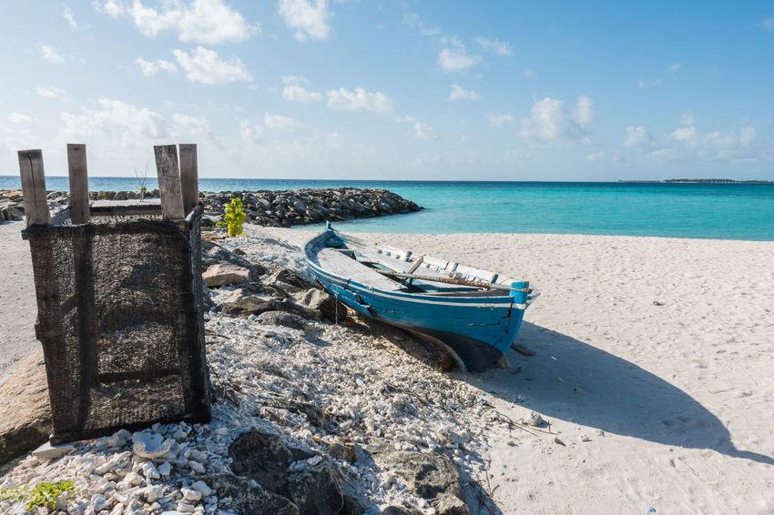 Beach Beauty In Nature Blue Blue Sea Boat Cloud - Sky Fishing Boat Freedom Happy Happy Time Horizon Over Water Landscape Maafushi Maafushi Island Maldives Nature Sand Sea Sea And Sky Seascape Summer Suumer  Tourism Travel Variation