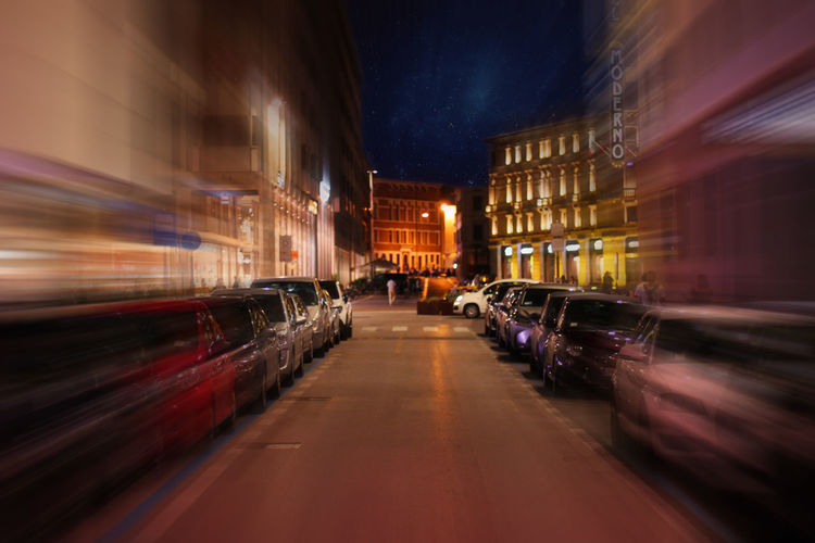 Pordenone 2017 Architecture Blurred Motion Building Exterior Built Structure City Illuminated Land Vehicle Mode Of Transport Motion Night No People Outdoors Speed The Way Forward Transportation