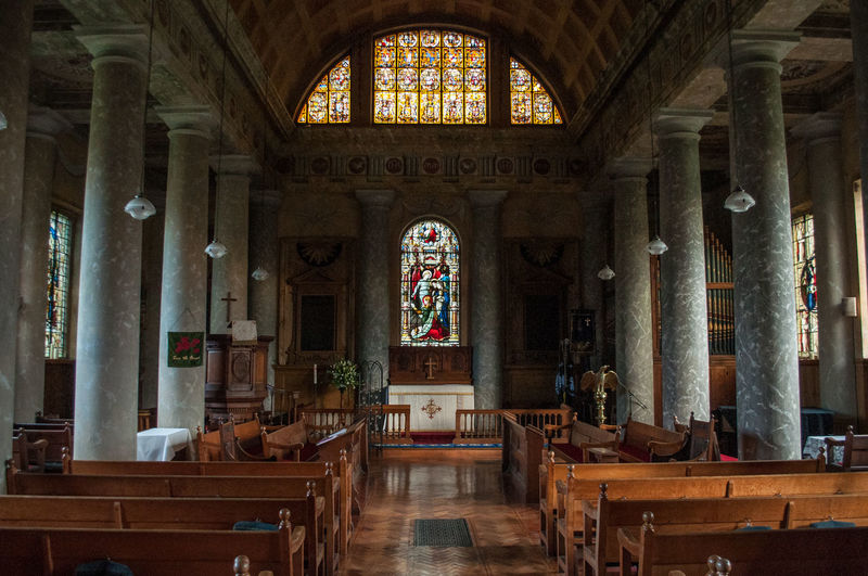 St Lawrence Church in Mereworth, Kent, England. British Church Kent Altar Arch Architectural Column Architecture Art And Craft Belief Bench Building Built Structure England Indoors  Mereworth No People Pew Place Of Worship Religion Seat Spirituality St Lawrence Wood - Material