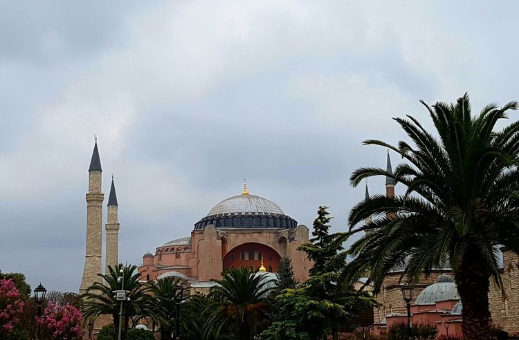 Architecture Built Structure Building Exterior Palm Tree Religion Tree Tourism Mosque Famous Place Sky Cloud - Sky Culture International Landmark Outdoors Ayasofya AyasofyaMuseum Majestic No People Architectural Feature Sky And Clouds Spirituality Day Place Of Worship Travel Destinations Holiday